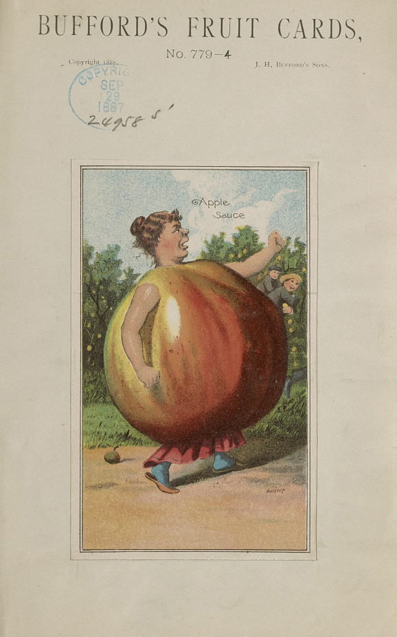 Bufford's fruit cards, no. 779-4 [apple]. Chromolithograph by J.H. Bufford's Sons, 1887. //hdl.loc.gov/loc.pnp/pga.05538