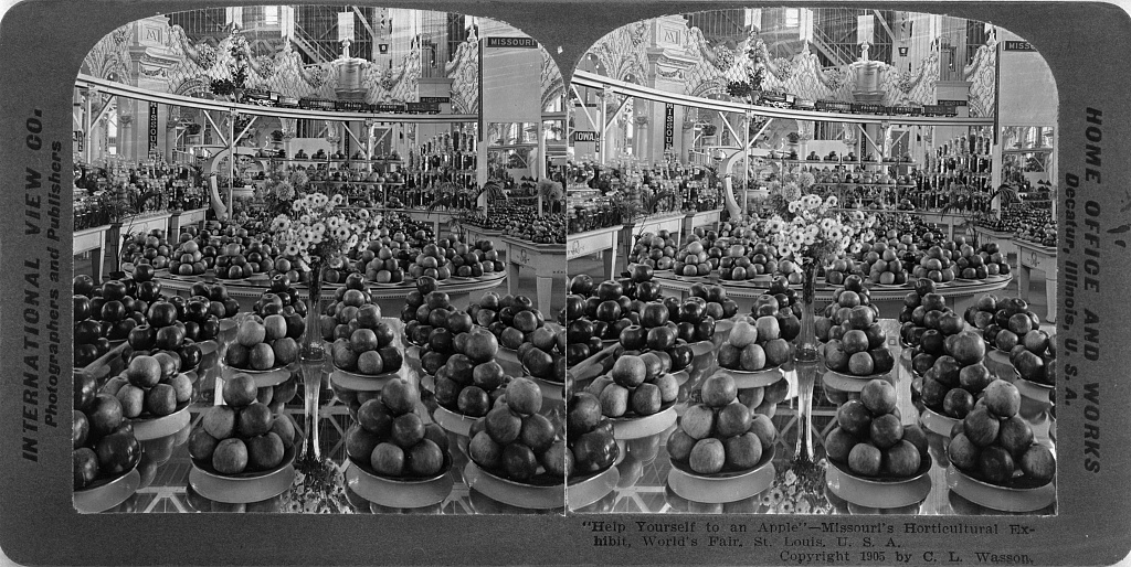 """Help yourself to an apple"", Missouri's Horticultural Exhibit, World's Fair, St. Louis, U.S.A. Stereograph by International View Co., c1905. //hdl.loc.gov/loc.pnp/cph.3c38179"
