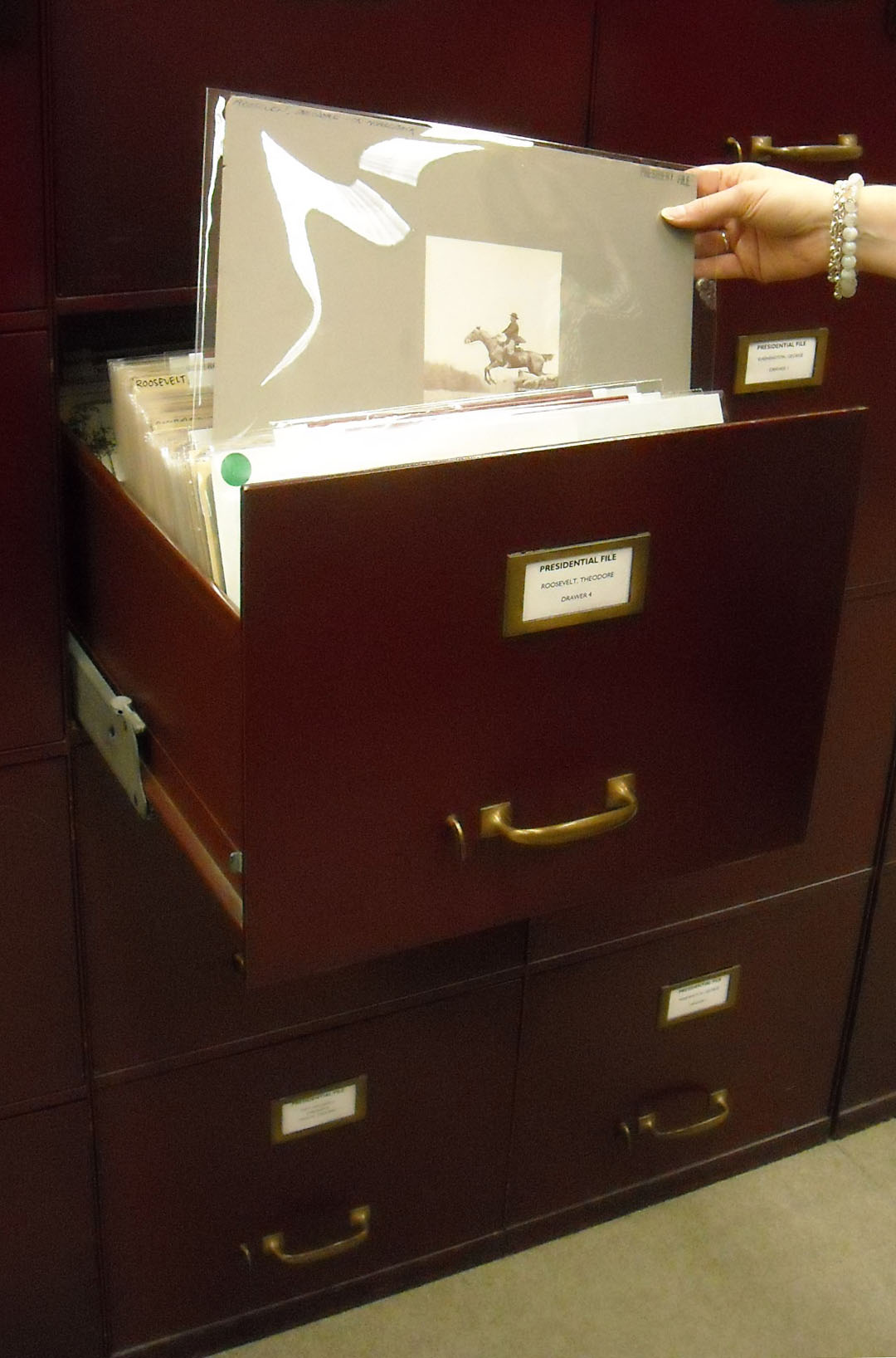 A drawer in the Presidential File, Prints and Photographs Reading Room.