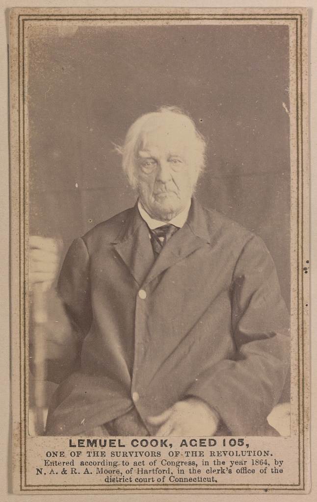 Lemuel Cook, aged 105, one of the survivors of the Revolution. Photograph copyrighted by N. A. & R. A. Moore, 1864. //hdl.loc.gov/loc.pnp/ppmsca.35339