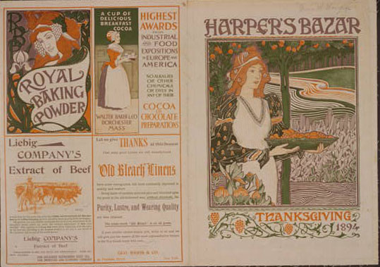 Harper's Bazaar--Thanksgiving 1894. Poster by Louis J. Rhead, 1894.