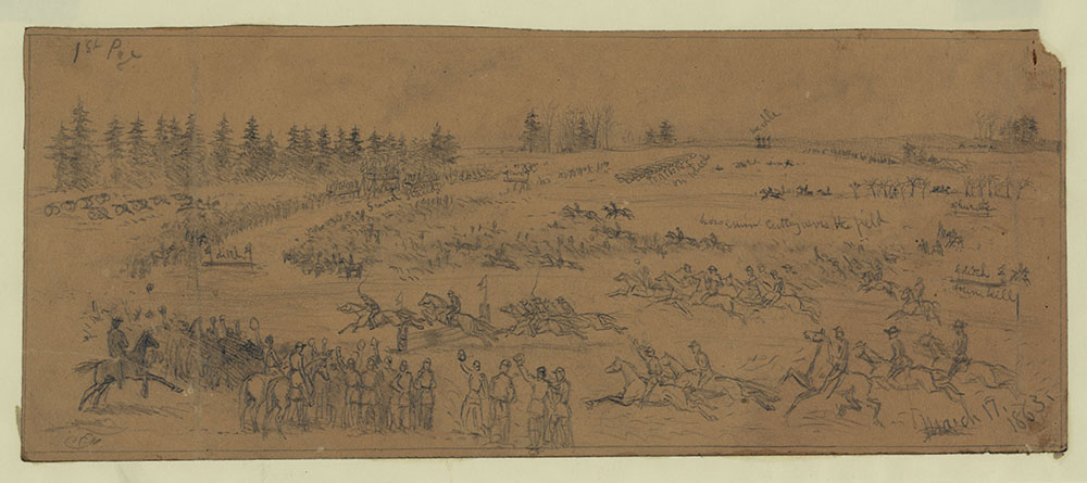 St. Patrick's Day in the army--The steeple chase. Pencil drawing by Edwin Forbes, March 17, 1863. //hdl.loc.gov/loc.pnp/ppmsca.20520