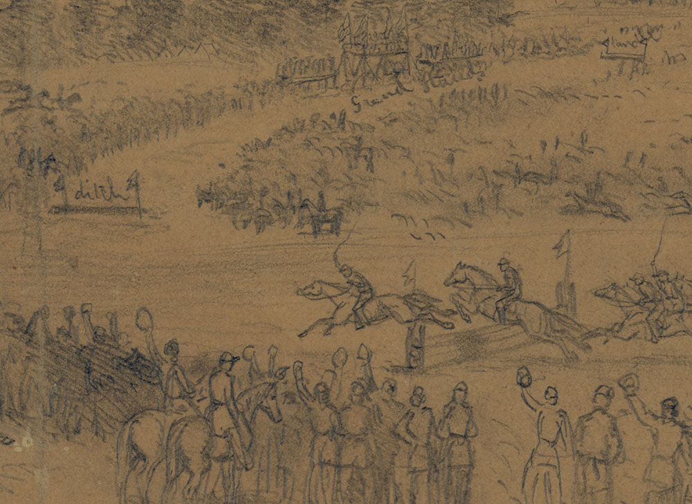 Detail of St. Patrick's Day in the army--The steeple chase. Pencil drawing by Edwin Forbes, March 17, 1863. //hdl.loc.gov/loc.pnp/ppmsca.20520