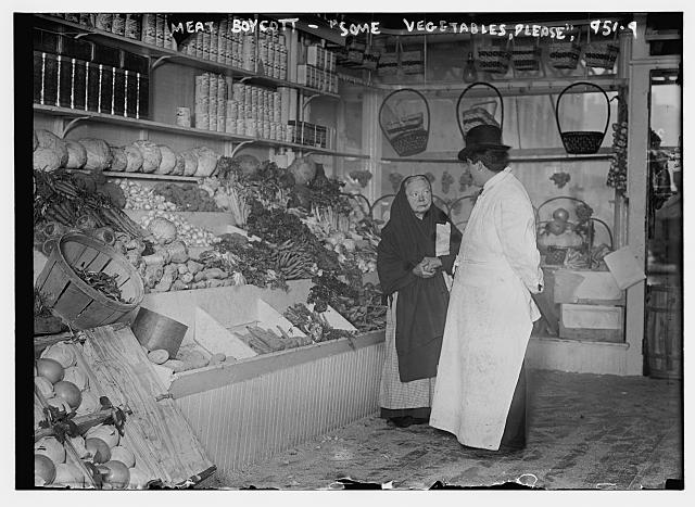 Meat boycott. Some vegetables please. Photo by Bain News Service, 1910 March 28. http://hdl.loc.gov/loc.pnp/ggbain.04487
