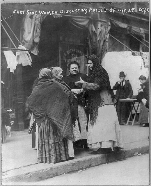 East Side women discussing price of meat N.Y.C. Photo by Bain News Service, 1910 April[?]. //hdl.loc.gov/loc.pnp/cph.3b03655