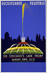 Poster showing fountain and Chicago skyline.