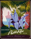 Poster promoting Puerto Rico for tourism, showing view of park with palm trees.