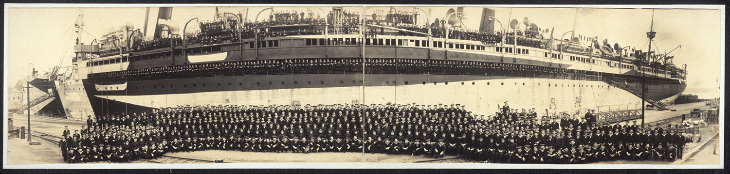 Officers and crew, U.S.S. Mount Vernon, October 30, 1918. Photo by J.C. Crosby, October 30, 1918. //hdl.loc.gov/loc.pnp/pan.6a32961