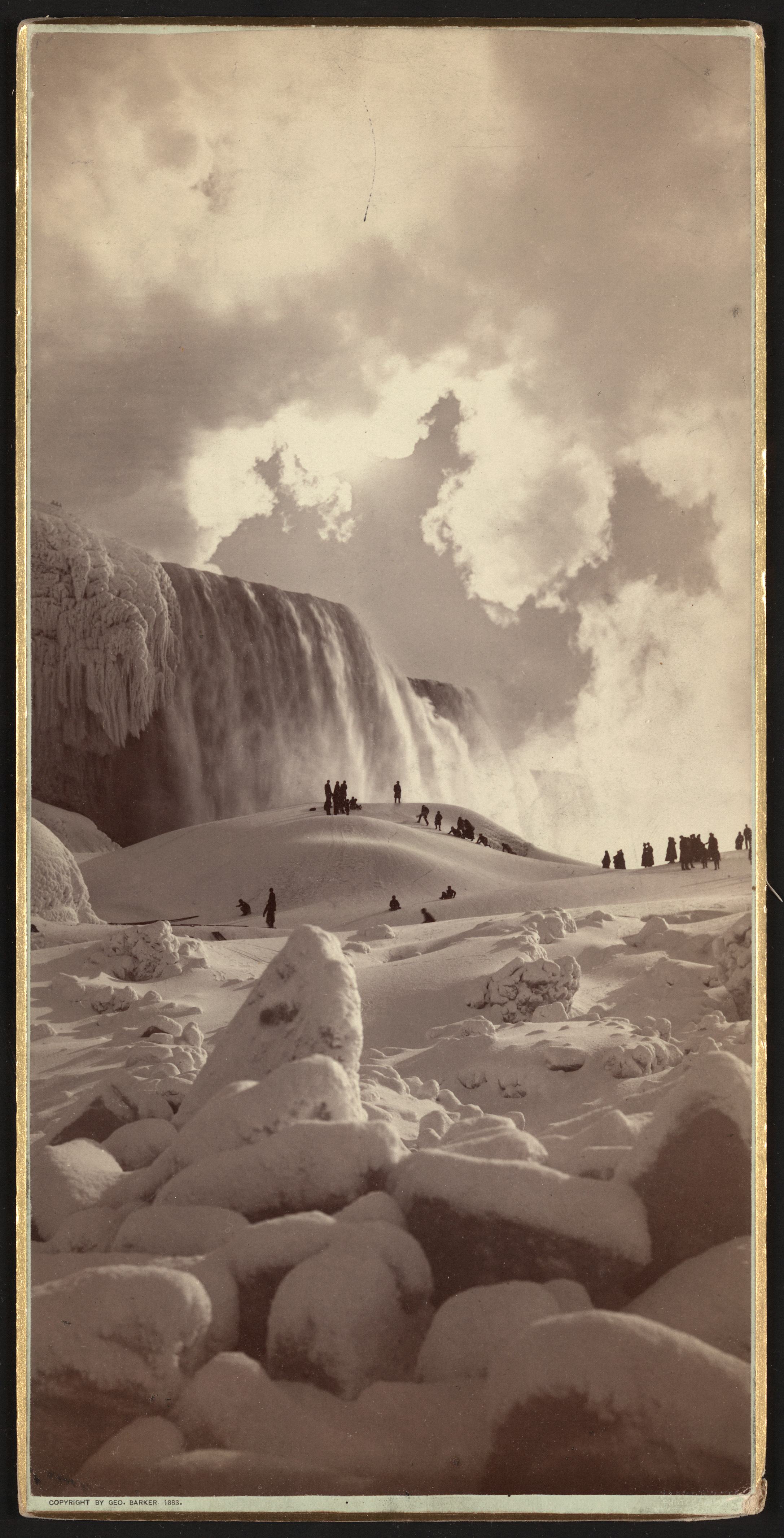 People on snow-covered ice at the base of the frozen American Falls, Niagara Falls, New York. Photo by George Barker, copyrighted 1883. //hdl.loc.gov/loc.pnp/ppmsca.11768