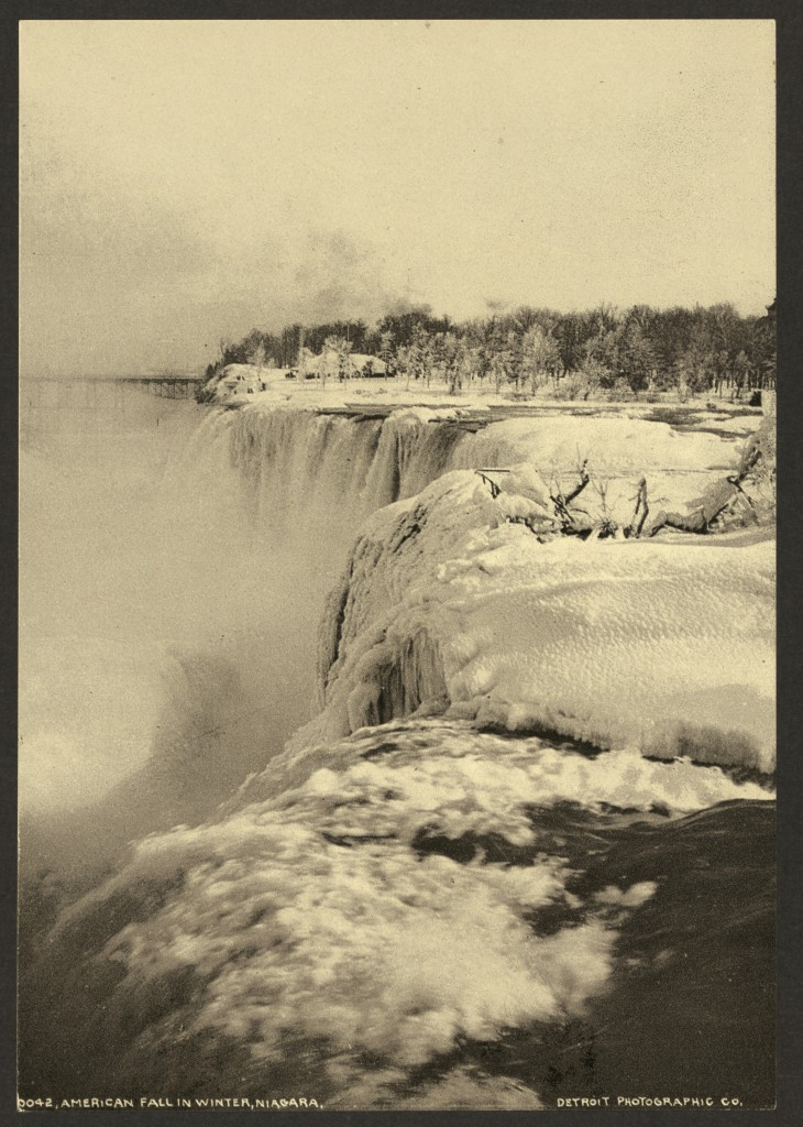 <i>American Fall in winter, Niagara.</i> Photochrom by Detroit Photographic Company, between 1898 and 1905. //hdl.loc.gov/loc.pnp/ppmsca.17828