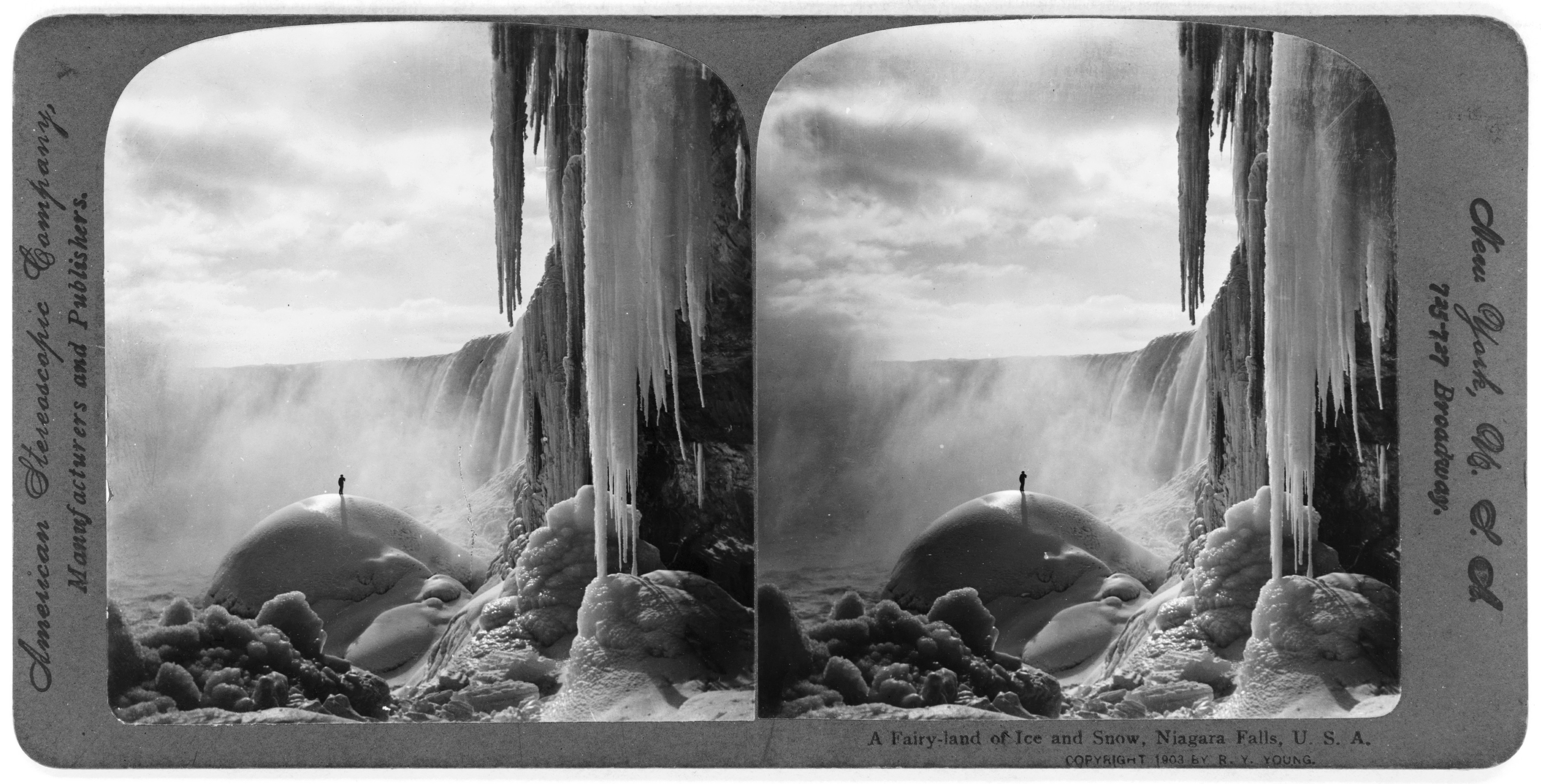 <i>A Fairy-land of ice and snow, Niagara Falls, U.S.A.</i> Stereograph copyrighted by R. Y. Young, 1903. //hdl.loc.gov/loc.pnp/cph.3c07047