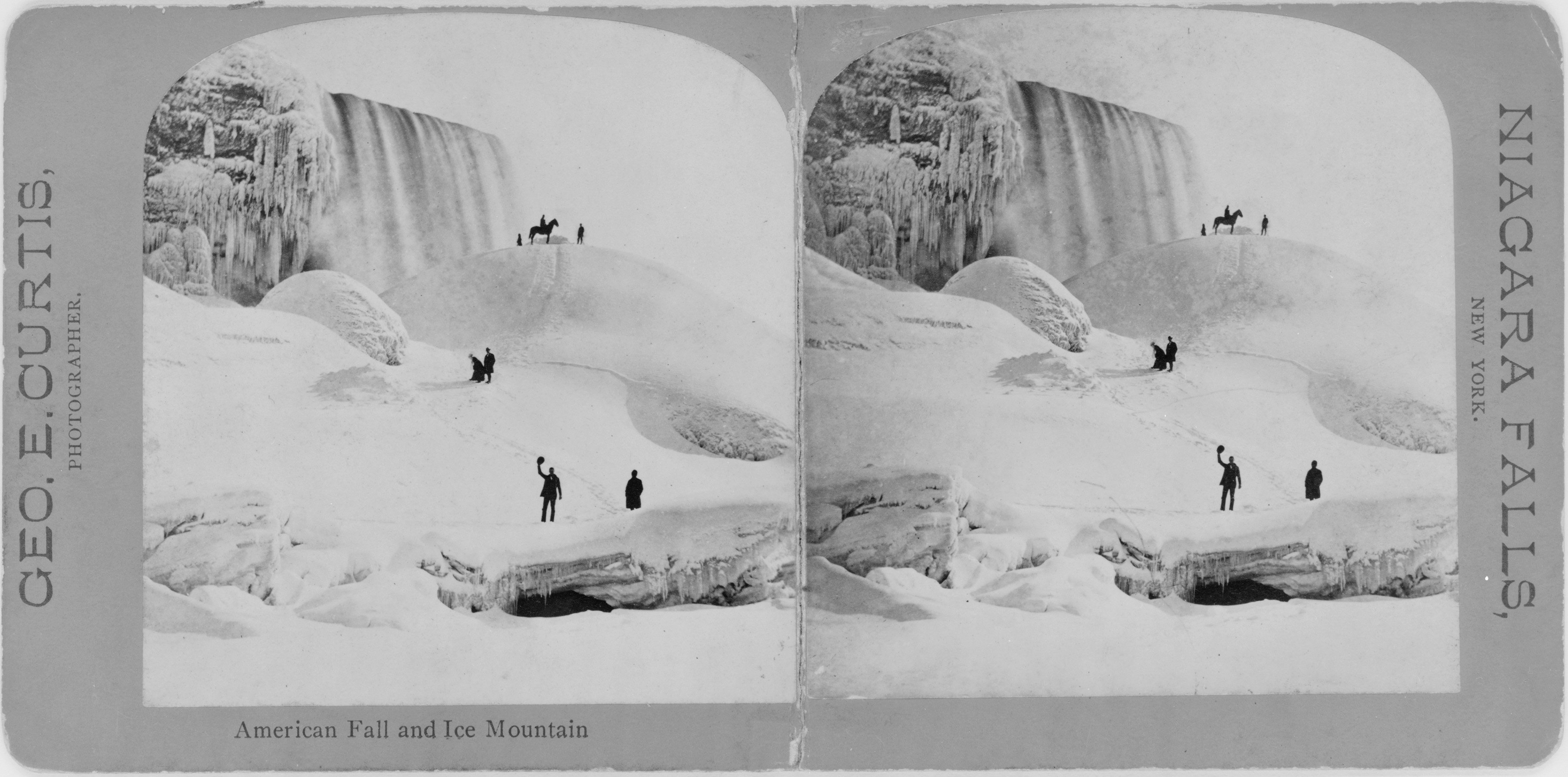 <i>American Fall and ice mountain.</i> Stereograph by George E. Curtis, between 1860 and 1900. //hdl.loc.gov/loc.pnp/cph.3c16300