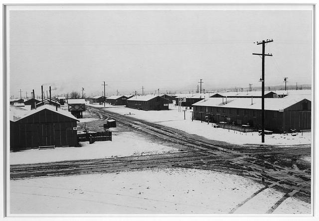 Winter storm, Manzanar Relocation Center, California. Photo by Ansel Adams, 1943. //hdl.loc.gov/loc.pnp/ppprs.00332