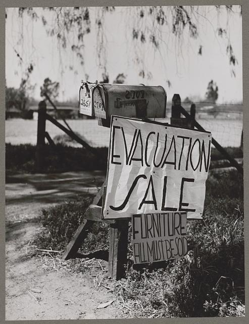 The evacuation of Japanese-Americans from West coast areas under United States Army war emergency order. Japanese try to sell their belongings. Photo by Russell Lee, 1942 April. //hdl.loc.gov/loc.pnp/ppmsca.38736