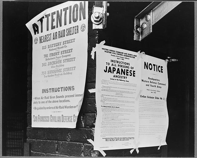 Civilian exclusion order #5, posted at First and Front streets , directing removal by April 7 of persons of Japanese ancestry, from the first San Francisco section to be affected by evacuation. Photo attributed to Dorothea Lange, 1942 April. //hdl.loc.gov/loc.pnp/cph.3a35053