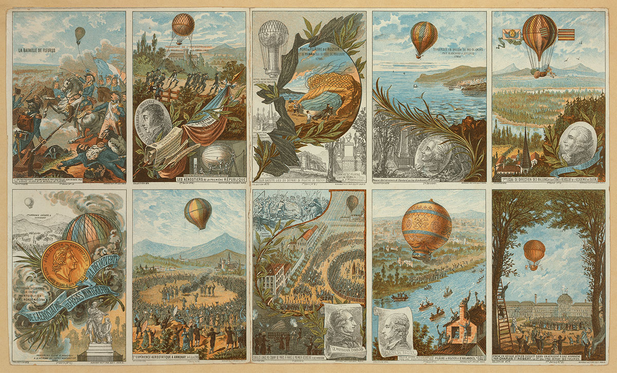 Collecting cards with pictures of events in ballooning history from 1783 to 1883. Printed between 1890 and 1900. //hdl.loc.gov/loc.pnp/ppmsca.02562