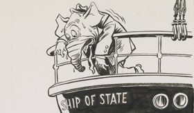 In 1954, as the Army-McCarthy hearings exposed the Wisconsin senator's bullying tactics on national television, Joseph McCarthy's reputation plummeted. Estonian émigré, Edmund Valtman, who had lived through German fascism and Soviet communism, believed the Republican Party needed to purge the red scare obsession from its agenda. Already an established cartoonist, Valtman emigrated to the United States in 1949 and worked for the Hartford Times between 1951 and his retirement in 1975.