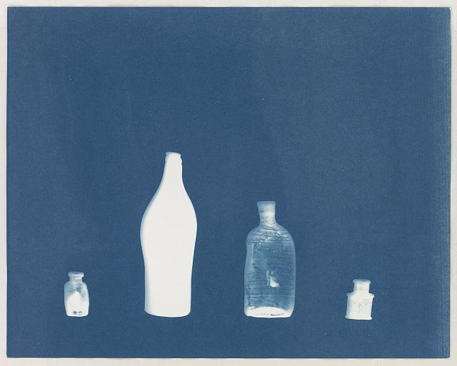 Four A-bombed Bottles from Hiroshima. Cyanotype by elin o'Hara slavick, 2008. By permission of the photographer.