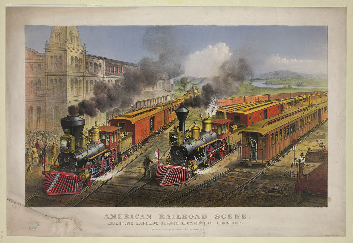 American Railroad Scene: Lightning Express Trains Leaving the Junction. Lithograph, published by Currier & Ives, 1874. //hdl.loc.gov/loc.pnp/pga.00601