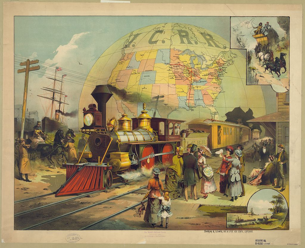 The World's Railroad Scene. Chromolithograph by Swain & Lewis, 1882. //hdl.loc.gov/loc.pnp/pga.03505