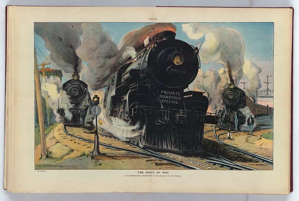 The Right of Way; As in Railroading, Everything is Side-Tracked for the Special. Offset lithograph by Beaumont Fairbank, 1910. Published in Puck, v. 67, no. 1734 (1910 May 25), centerfold. //hdl.loc.gov/loc.pnp/ppmsca.27635
