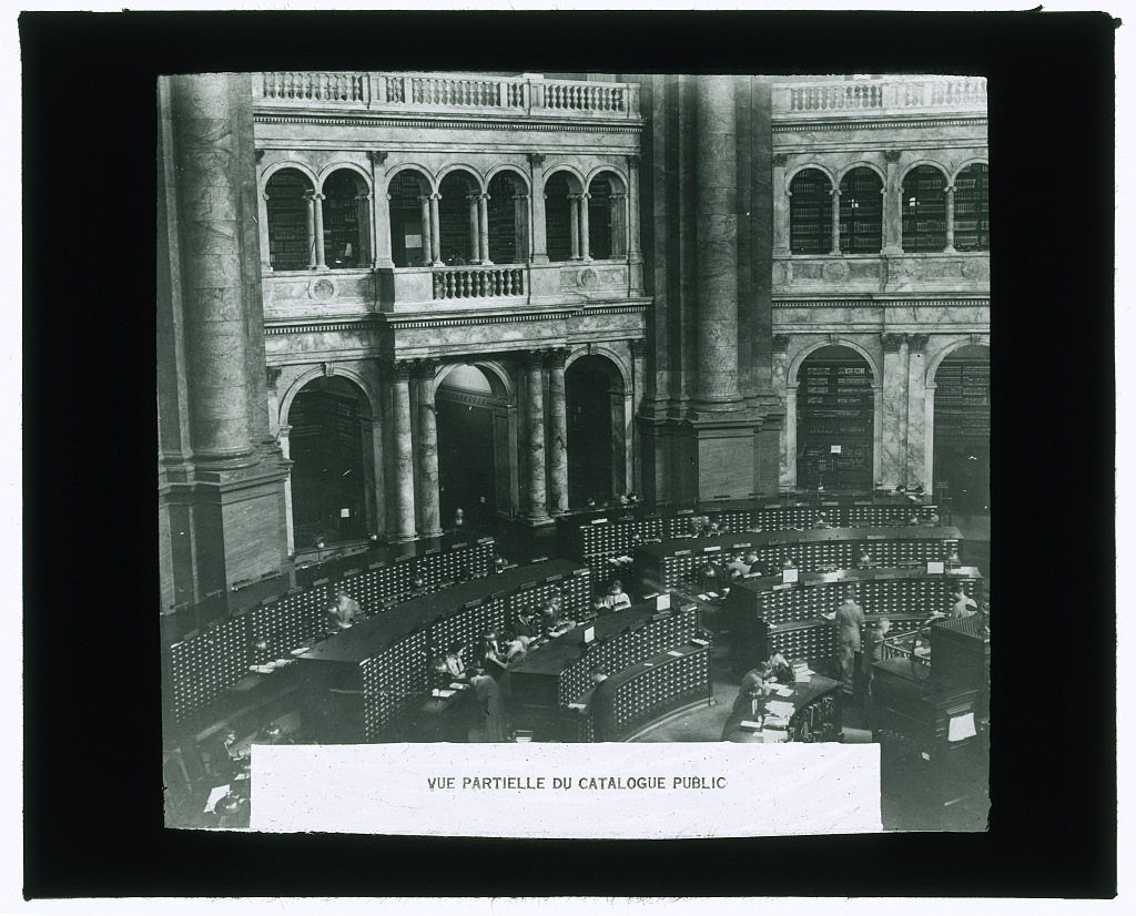 Vue partielle du catalogue public. Lantern slide showing the card catalog in the Main Reading Room at the Library of Congress, 1937. //hdl.loc.gov/loc.pnp/ppmsca.37906