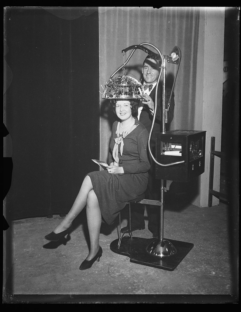 [Woman seated with a psychograph, a phrenology machine, on her head] Photo by Harris & Ewing, 1931. http://hdl.loc.gov/loc.pnp/hec.36580