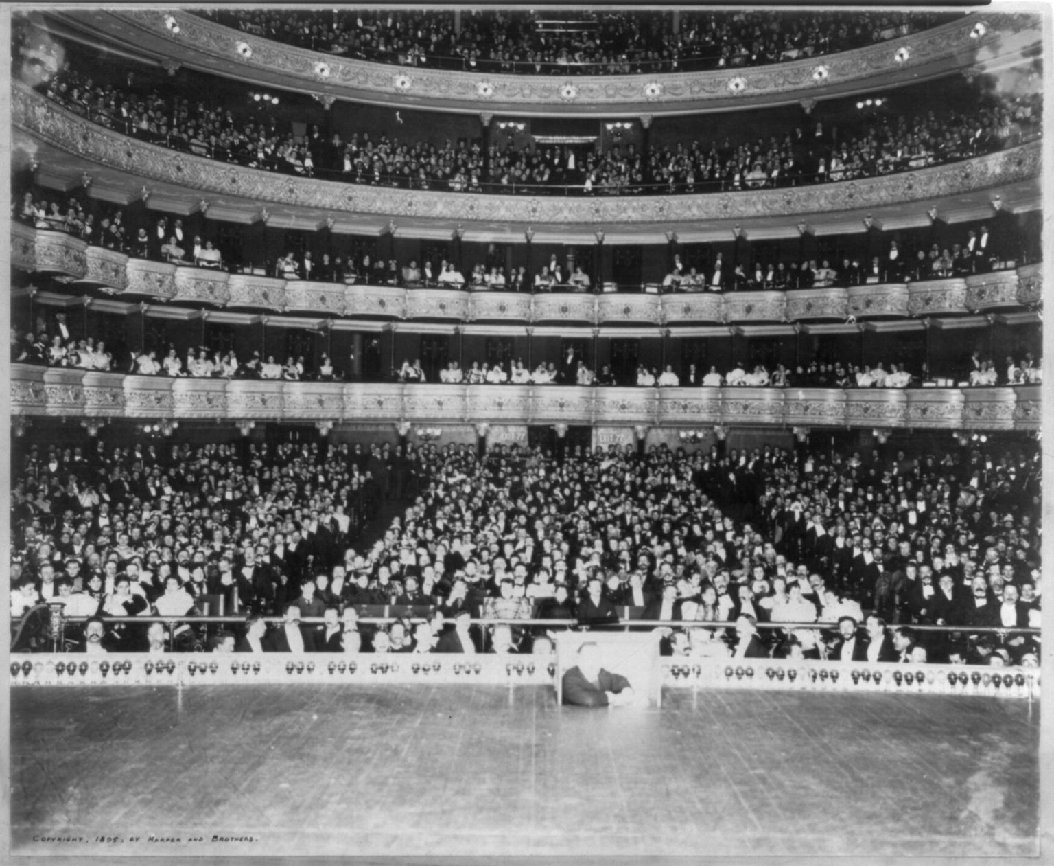 "The Interior of the Metropolitan Opera House, New York, with an Audience of over 3,500 People, on the Occasion of Max Alvary's 100th Appearance in Wagner's ""Siegfried"". Flash-light photo by Ernest Marx, circa 1888. //hdl.loc.gov/loc.pnp/cph.3b03446"