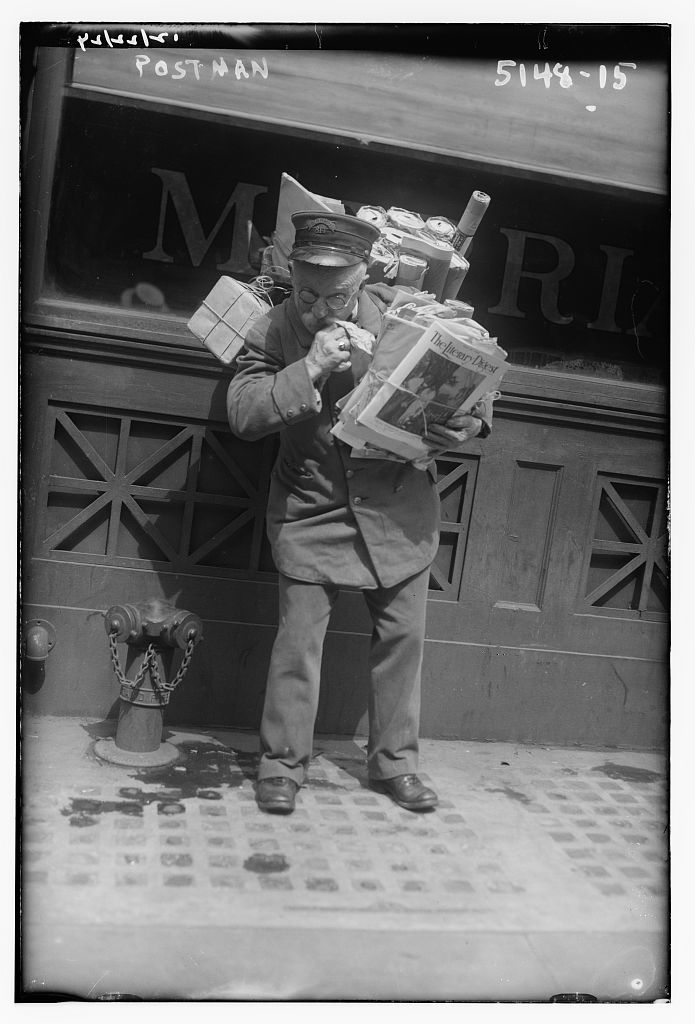Postman. Photo by Bain News Service, undated. //hdl.loc.gov/loc.pnp/ggbain.30190
