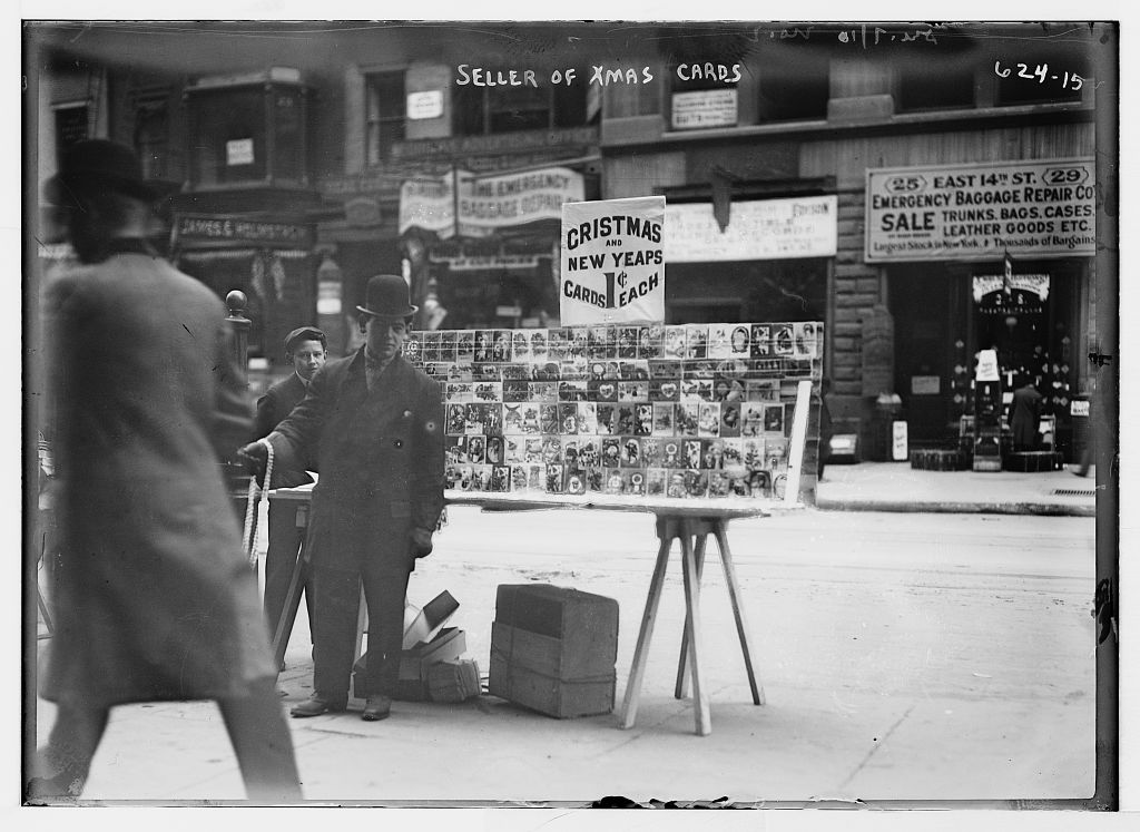 Christmas Card vendor, New York. Photo by Bain News Service, undated. //hdl.loc.gov/loc.pnp/ggbain.03036
