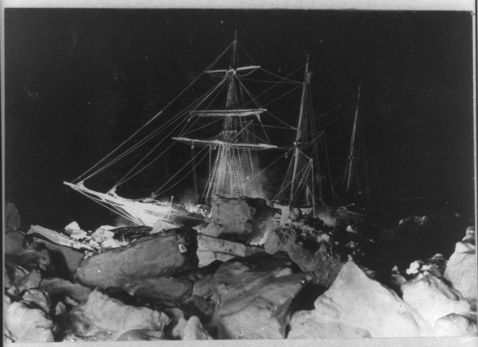 Shackleton's expedition to the Antarctic winter flashlight scene in the Weddell Sea, showing Endurance stuck fast. Photo copyrighted by Underwood & Underwood, 1916. //hdl.loc.gov/loc.pnp/cph.3a52120