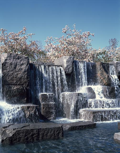 Waterfall and cherry trees at the Franklin Delano Roosevelt Memorial, Washington, D.C. Photo by Carol M. Highsmith, between 1980 and 2006. //hdl.loc.gov/loc.pnp/highsm.14070