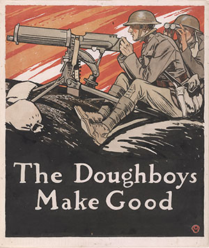The Doughboys Make Good, published as cover of Collier's magazine, August 10, 1918. Watercolor by Edward Penfield, 1918.