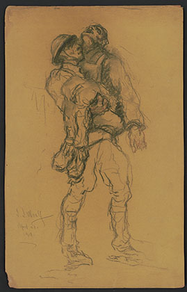 Soldier Carrying Wounded. Charcoal drawing by Samuel Woolf, April 21, 1918.