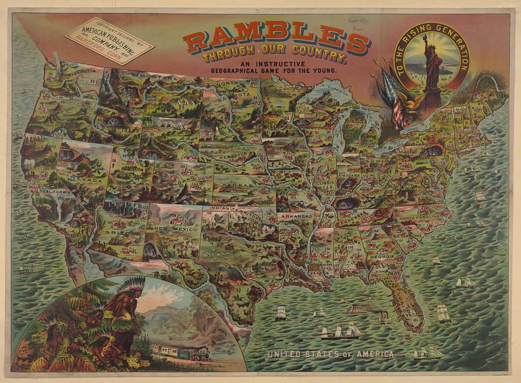 Rambles through our country - an instructive geographical game for the young. Published in New York : Schaefer & Weisenbach, Litho., c1890.