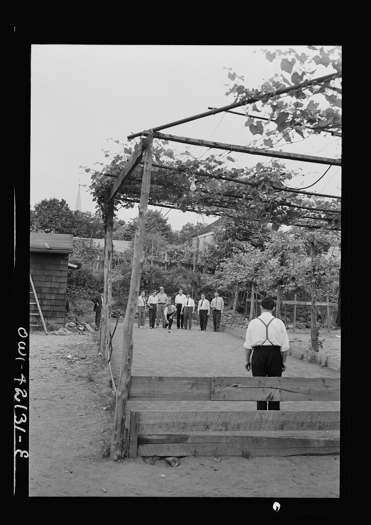 Bocci, an Italian game somewhat like bowling, is another popular outdoor sport in Southington. Photo by Fenno Jacobs, May 1942. hdl.loc.gov/loc.pnp/fsa.8d35143