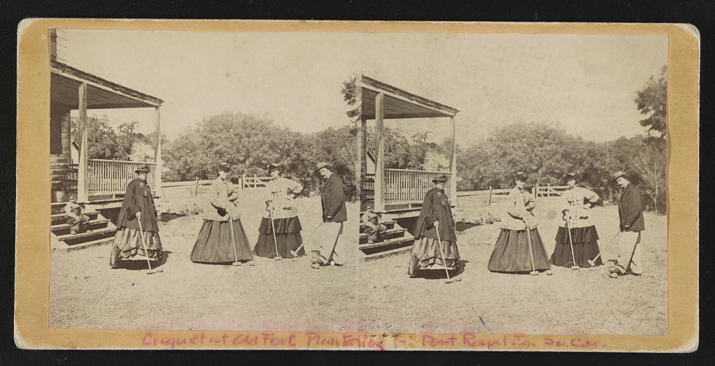 Croquet party, Old Fort Plantation, Port Royal Isl, South Carolina. Between 1863 and 1865. hdl.loc.gov/loc.pnp/stereo.1s03981