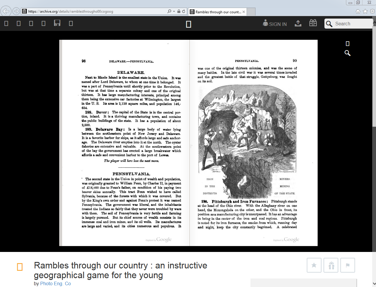 Screenshot of Archives.org's online resource for the booklet that accompanies <em>Rambles Through Our Country.<em/>
