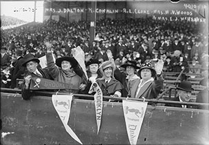 Photograph shows Brooklyn baseball fans at the 1916 World Series seated with Jennie Veronica Murphy McKeever (1862-1942), wife of one of the Brooklyn team's owners.