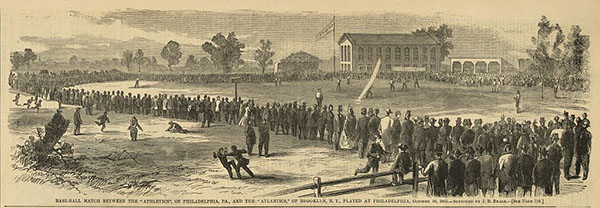 Illustration showing spectators around the baseball field in Philadelphia during a baseball game between the Philadelphia Athletics and the Brooklyn Atlantics; also shows two fans settling a disagreement in the center foreground.