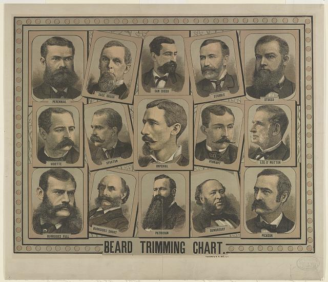 Beard trimming chart. Print by W. W. Bode, copyrighted 1884 Dec. 1. //hdl.loc.gov/loc.pnp/pga.04422