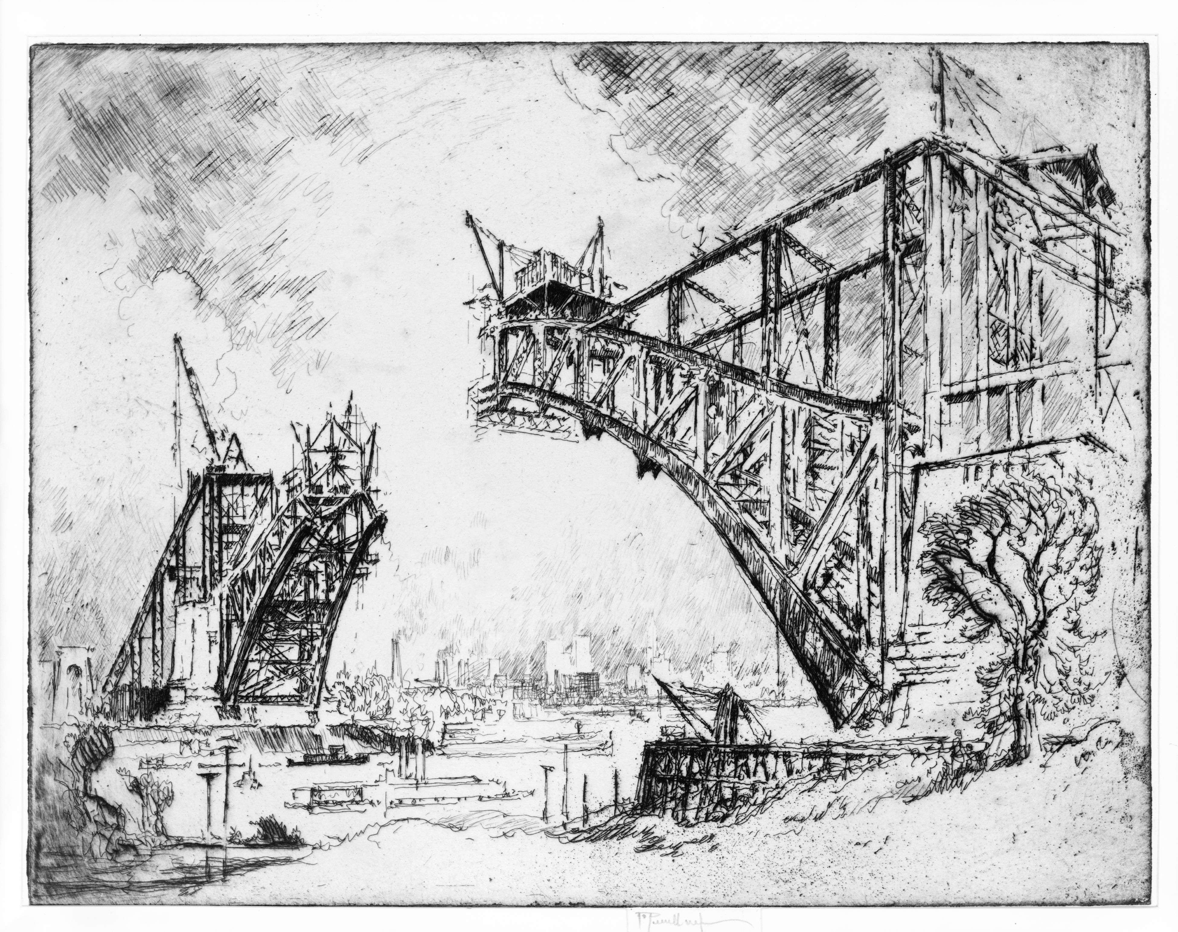 The Bridge at Hell Gate. Etching by Joseph Pennell, 1915. FP - XIX - P420, no. 670-3 //hdl.loc.gov/loc.pnp/cph.3c04967