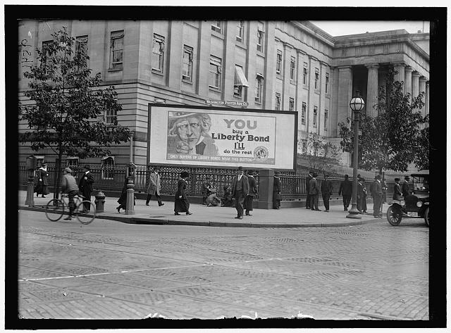 Liberty Loans, 2nd Loan; Posters. Photo by Harris & Ewing, 1917. //hdl.loc.gov/loc.pnp/hec.09714