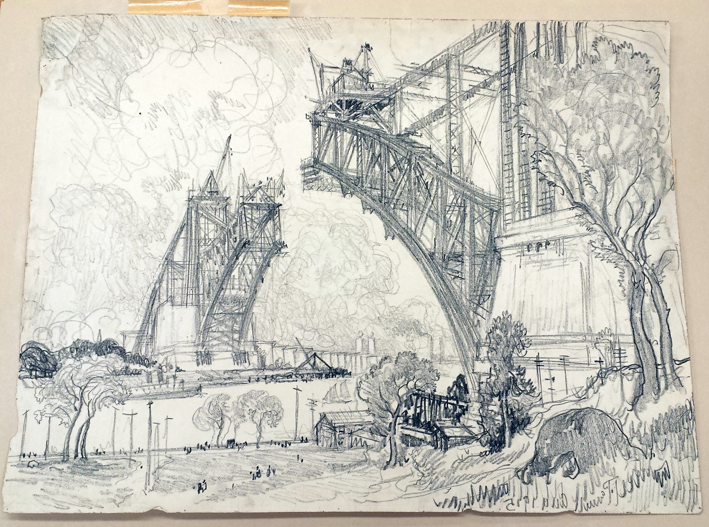 Bridge over Hell Gate. Drawing by Joseph Pennell, August 1915. //www.loc.gov/pictures/collection/drwgma/item/2007666331/