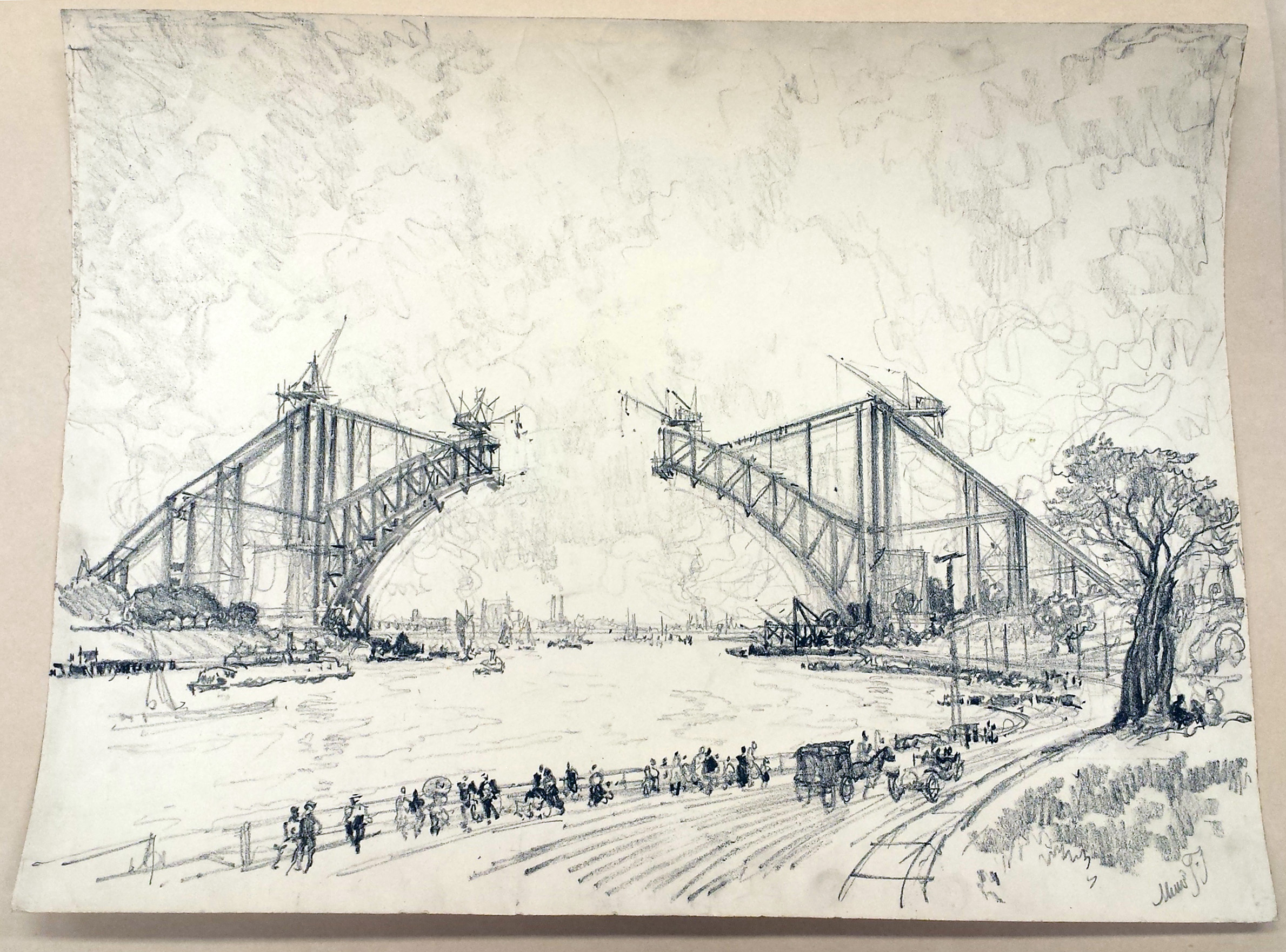 Hell Gate Bridge from Long Island No. 2. Drawing by Joseph Pennell, circa 1915. //www.loc.gov/pictures/collection/drwgma/item/2007666329/