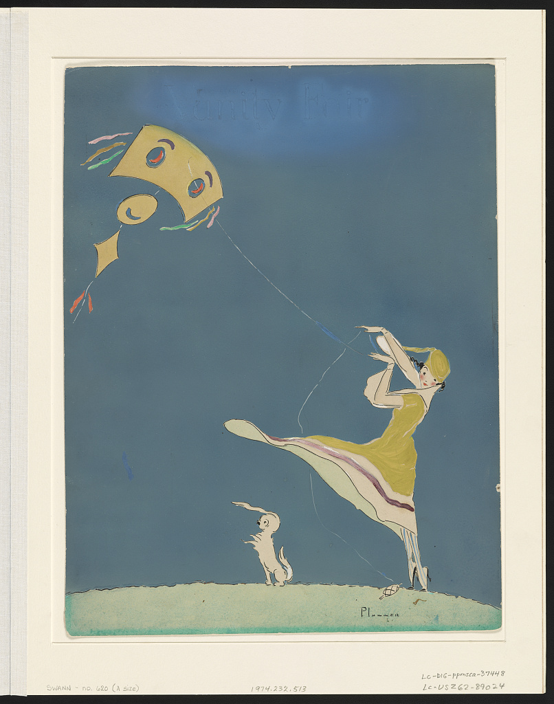 Girl with kite and dog. Drawing by Ethel M'Clellan Plummer, 1917. hdl.loc.gov/loc.pnp/ppmsca.37448