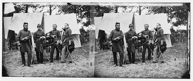 Fair Oaks, Va., vicinity. Capt. James M. Robertson (third from left) and officers. Photograph by James F. Gibson, 1862 June. //hdl.loc.gov/loc.pnp/cwpb.00164