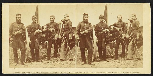 Group, Major Robertson and friends. Photograph by James F. Gibson on stereo card, copyrighted by Alexander Gardner, 1863. //hdl.loc.gov/loc.pnp/stereo.1s02782