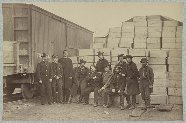 Group at Commissary Depot, Acquia [i.e. Aquia] Creek Landing, Va. Photograph by Alexander Gardner, 1863 Feb. //hdl.loc.gov/loc.pnp/ppmsca.34243
