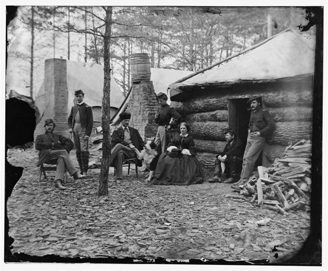 Brandy Station, Va. Officers and a lady at headquarters of 1st Brigade, Horse Artillery. Photograph by James F. Gibson, 1864 Feb. //hdl.loc.gov/loc.pnp/cwpb.04066